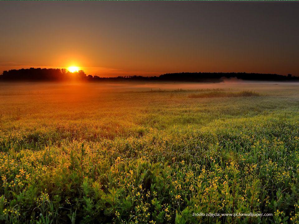 Wczesnym rankiem kiedy świta I noc z wolna ustępuje Tarcza słońca jeszcze skryta Z horyzontem się mocuje Brzask do świtu się przytula Cienie mroku zar