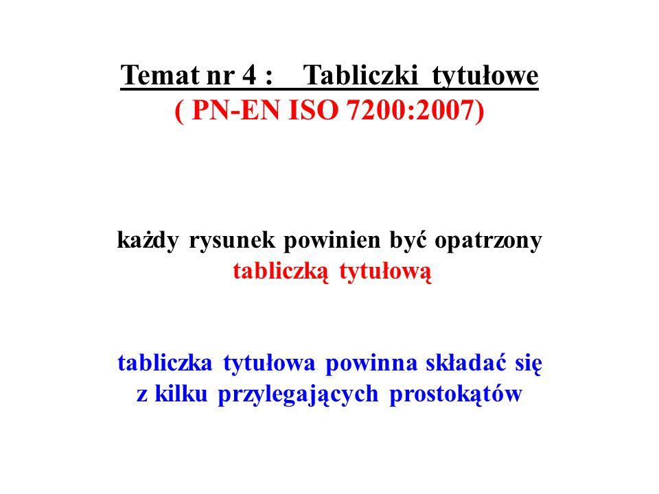 Temat nr 5 : Części arkusza rysunkowego ( PN-ISO 9431:1994 ) Powierzchnię arkusza dzieli się na :  część rysunkową  część tekstową (opisową )  tabliczkę tytułową