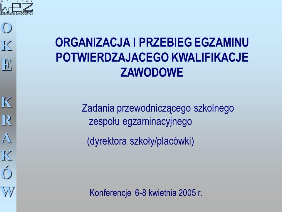 OKE KRAKÓW ORGANIZACJA I PRZEBIEG EGZAMINU POTWIERDZAJACEGO KWALIFIKACJE ZAWODOWE Konferencje 6-8 kwietnia 2005 r. Zadania przewodniczącego szkolnego