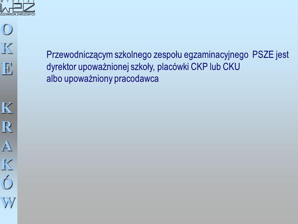 OKE KRAKÓW Przewodniczącym szkolnego zespołu egzaminacyjnego PSZE jest dyrektor upoważnionej szkoły, placówki CKP lub CKU albo upoważniony pracodawca