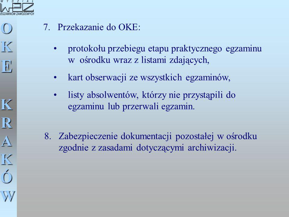 OKE KRAKÓW protokołu przebiegu etapu praktycznego egzaminu w ośrodku wraz z listami zdających, kart obserwacji ze wszystkich egzaminów, listy absolwen