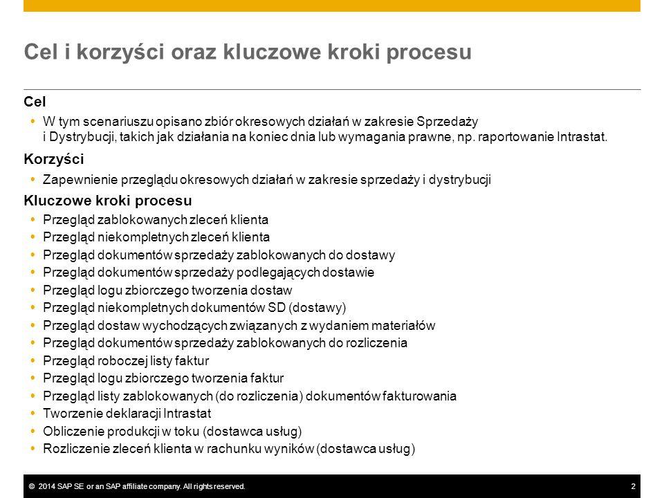 ©2014 SAP SE or an SAP affiliate company. All rights reserved.2 Cel i korzyści oraz kluczowe kroki procesu Cel  W tym scenariuszu opisano zbiór okres