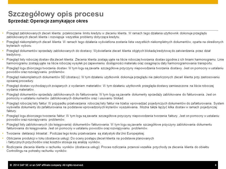 ©2014 SAP SE or an SAP affiliate company. All rights reserved.4 Szczegółowy opis procesu Sprzedaż: Operacje zamykające okres  Przegląd zablokowanych