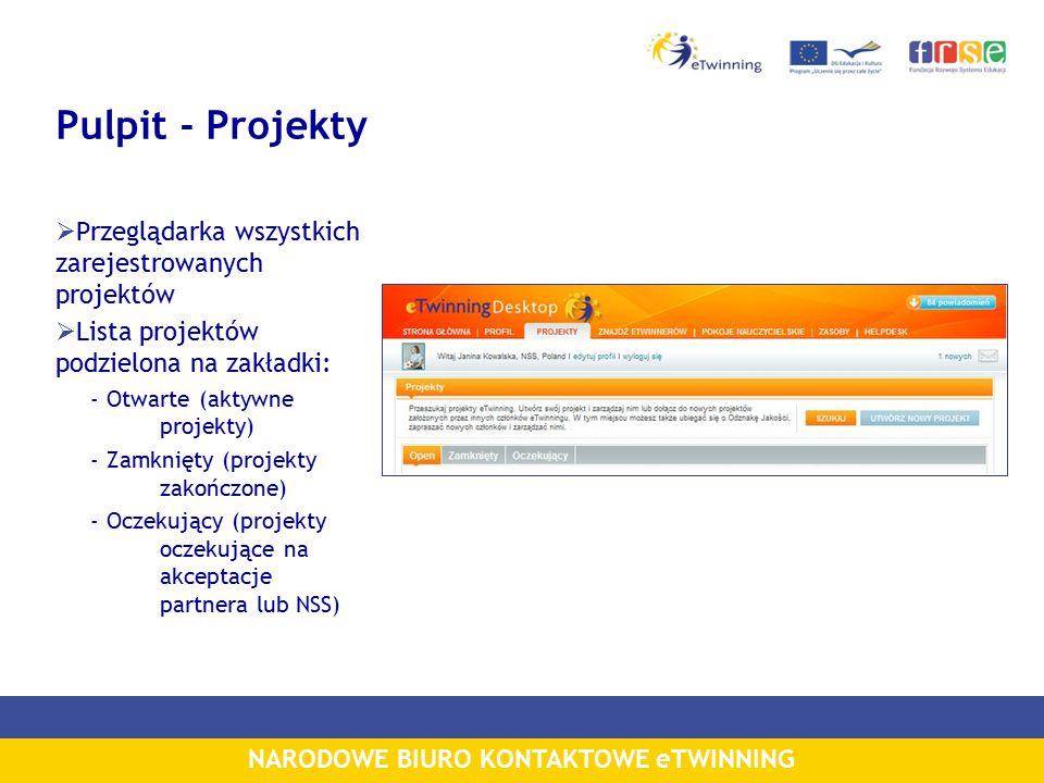 NARODOWE BIURO KONTAKTOWE eTWINNING Pulpit - Projekty  Przeglądarka wszystkich zarejestrowanych projektów  Lista projektów podzielona na zakładki: - Otwarte (aktywne projekty) - Zamknięty (projekty zakończone) - Oczekujący (projekty oczekujące na akceptacje partnera lub NSS)