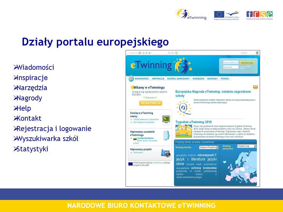 NARODOWE BIURO KONTAKTOWE eTWINNING Działy portalu europejskiego  Wiadomości  Inspiracj e  Narzędzia  Nagrody  Help  Kontakt  Rejestracja i logowanie  Wyszukiwarka szkół  Statystyki