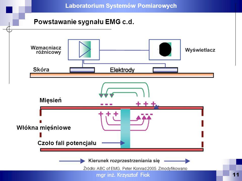 Laboratorium Systemów Pomiarowych 11 mgr inż. Krzysztof Fiok Powstawanie sygnału EMG c.d. Mięsień Włókna mięśniowe Czoło fali potencjału Źródło: ABC o