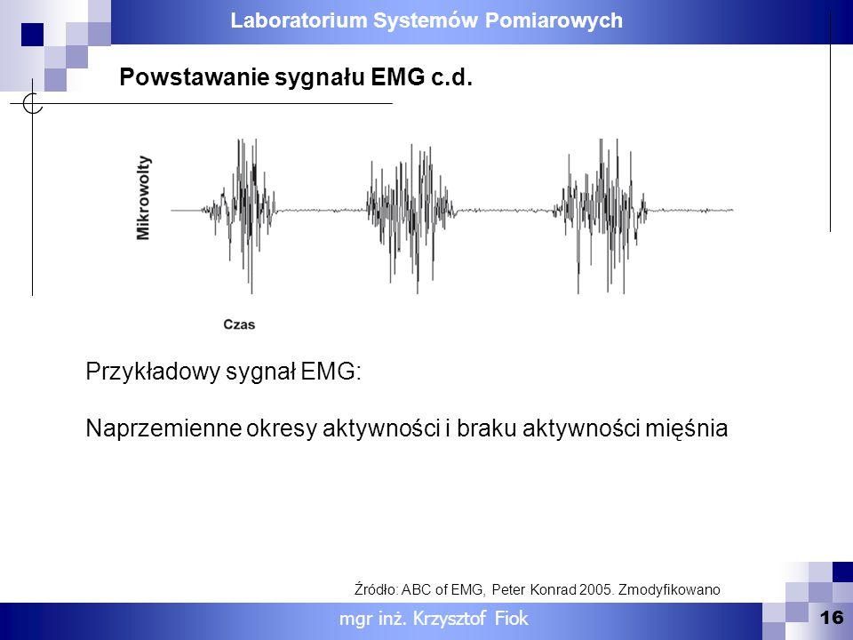Laboratorium Systemów Pomiarowych 16 mgr inż. Krzysztof Fiok Powstawanie sygnału EMG c.d. Przykładowy sygnał EMG: Naprzemienne okresy aktywności i bra