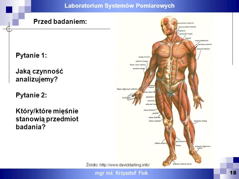 Laboratorium Systemów Pomiarowych 18 Pytanie 1: Jaką czynność analizujemy? Pytanie 2: Który/które mięśnie stanowią przedmiot badania? Przed badaniem:
