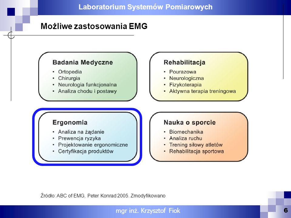 Laboratorium Systemów Pomiarowych 6 mgr inż. Krzysztof Fiok Możliwe zastosowania EMG Źródło: ABC of EMG, Peter Konrad 2005. Zmodyfikowano