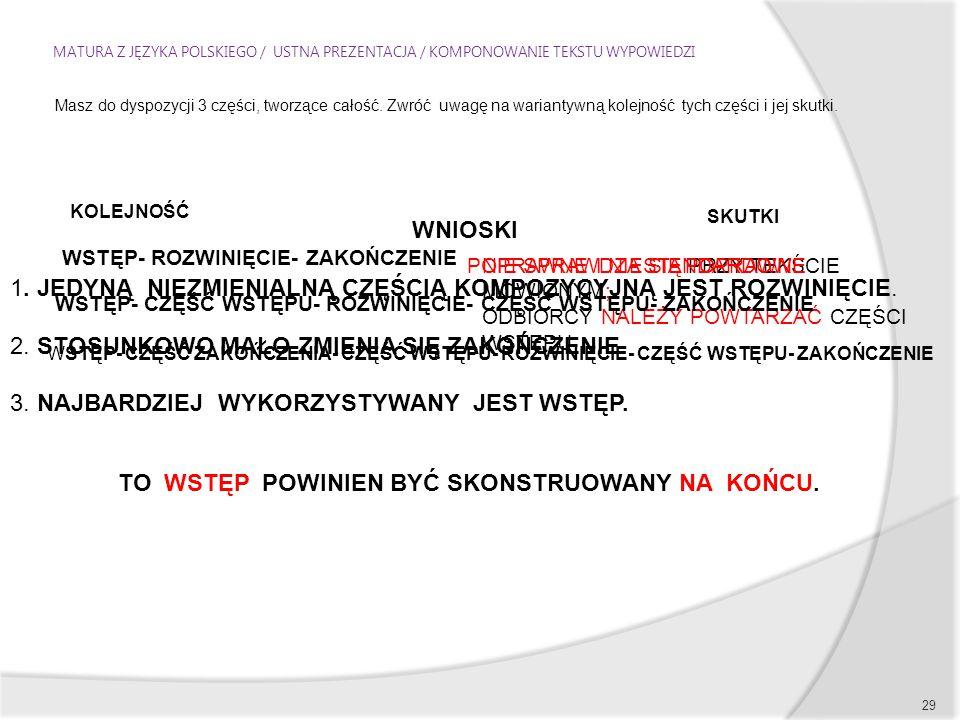 MATURA Z JĘZYKA POLSKIEGO / USTNA PREZENTACJA / KOMPONOWANIE TEKSTU WYPOWIEDZI 29 Masz do dyspozycji 3 części, tworzące całość.