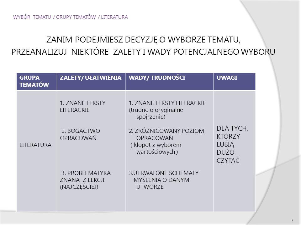 WYBÓR TEMATU / GRUPY TEMATÓW / LITERATURA ZANIM PODEJMIESZ DECYZJĘ O WYBORZE TEMATU, PRZEANALIZUJ NIEKTÓRE ZALETY I WADY POTENCJALNEGO WYBORU 7 GRUPA TEMATÓW ZALETY/ UŁATWIENIAWADY/ TRUDNOŚCIUWAGI LITERATURA 1.
