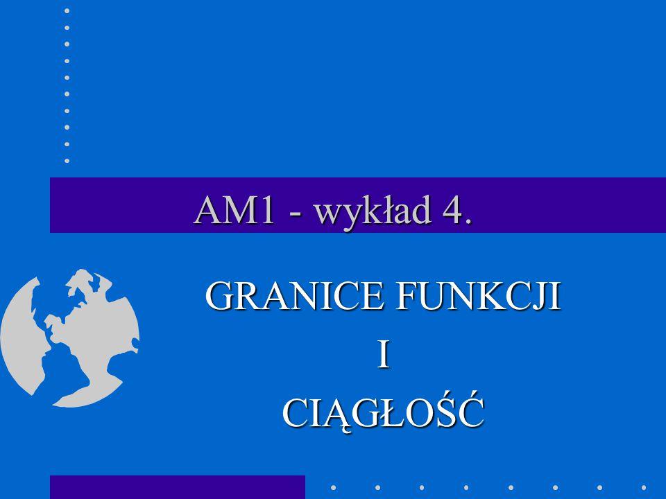 AM1 - wykład 4. GRANICE FUNKCJI ICIĄGŁOŚĆ