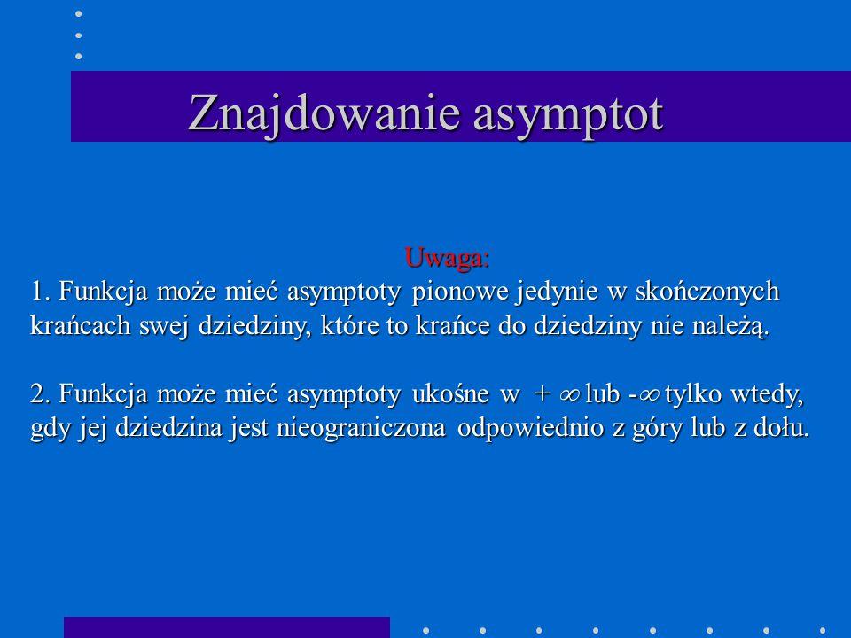 Znajdowanie asymptot Uwaga: 1. Funkcja może mieć asymptoty pionowe jedynie w skończonych krańcach swej dziedziny, które to krańce do dziedziny nie nal