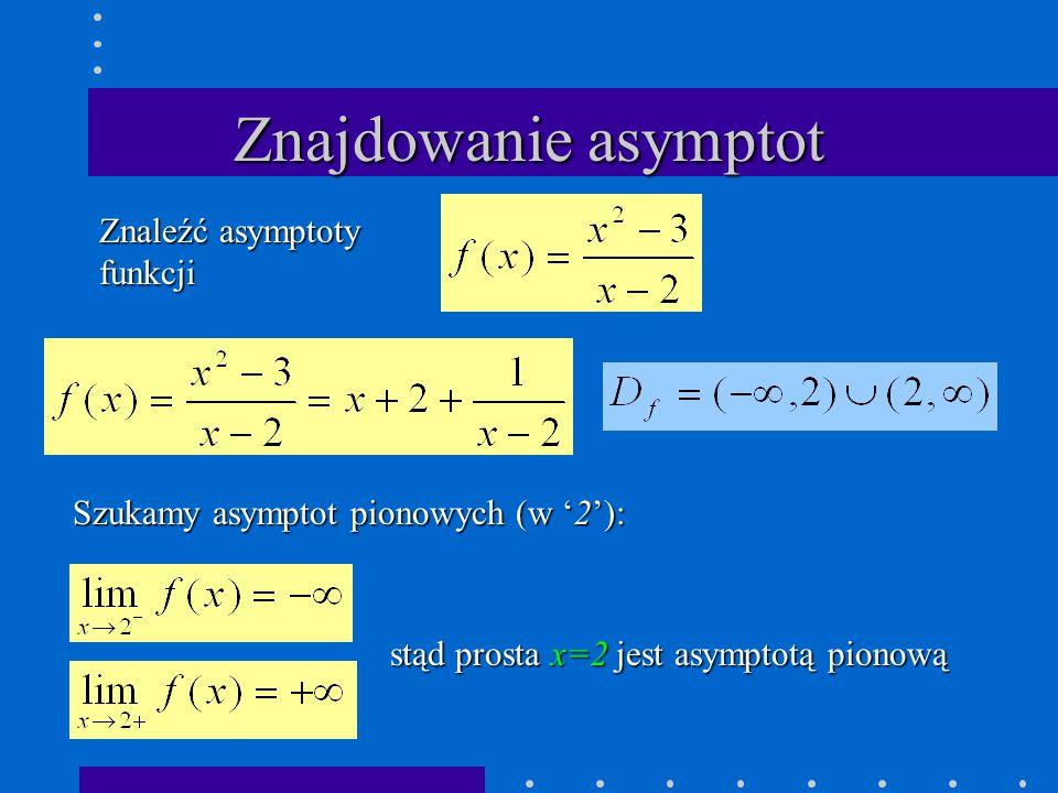Znajdowanie asymptot Znaleźć asymptoty funkcji Szukamy asymptot pionowych (w '2'): stąd prosta x=2 jest asymptotą pionową