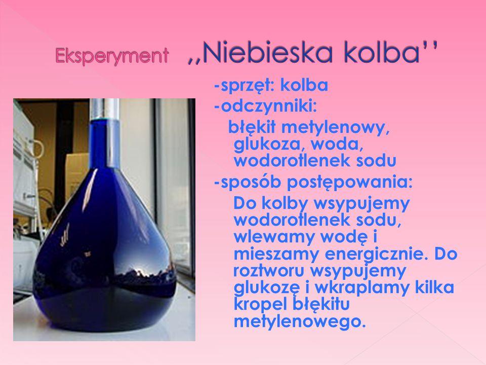 -sprzęt: kolba -odczynniki: błękit metylenowy, glukoza, woda, wodorotlenek sodu -sposób postępowania: Do kolby wsypujemy wodorotlenek sodu, wlewamy wo