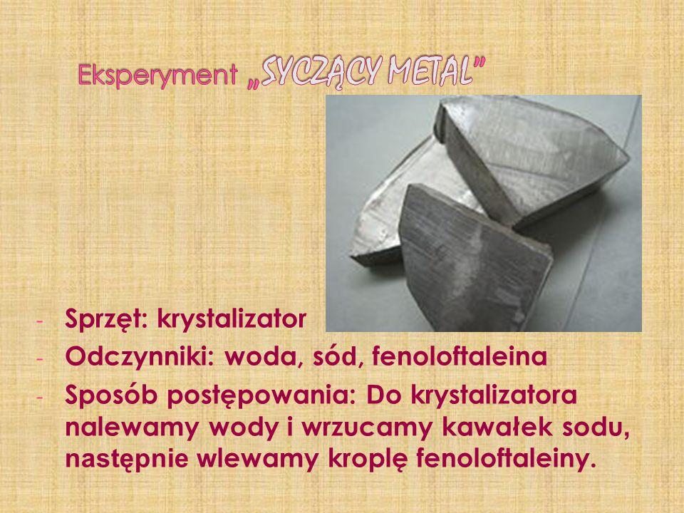 - Sprzęt: krystalizator - Odczynniki: woda, só d, fenoloftaleina - Sposób postępowania: D o krystalizatora nalewamy wody i wrzucamy kawałek sodu, nast
