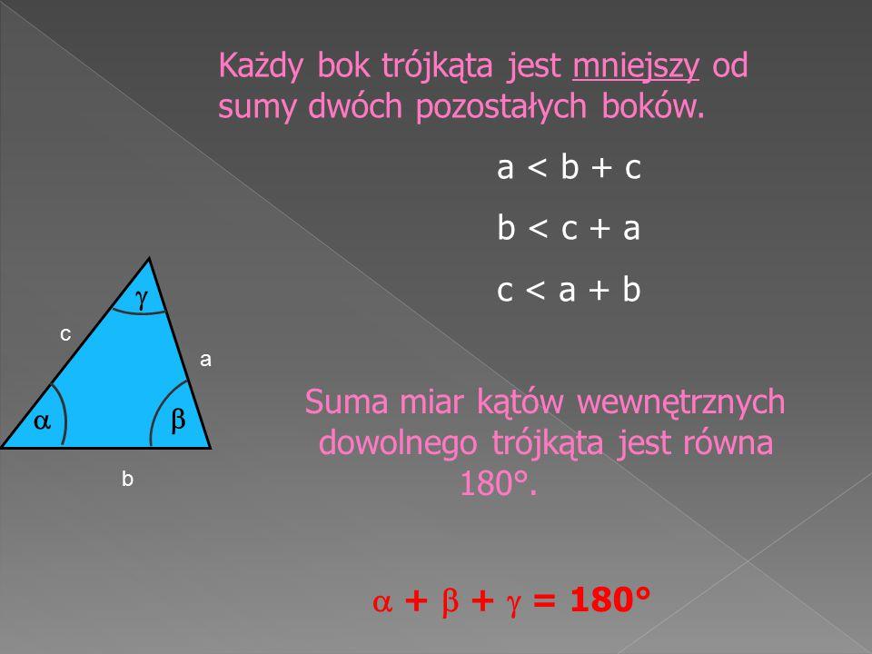 Każdy bok trójkąta jest mniejszy od sumy dwóch pozostałych boków. a < b + c b < c + a c < a + b Suma miar kątów wewnętrznych dowolnego trójkąta jest r