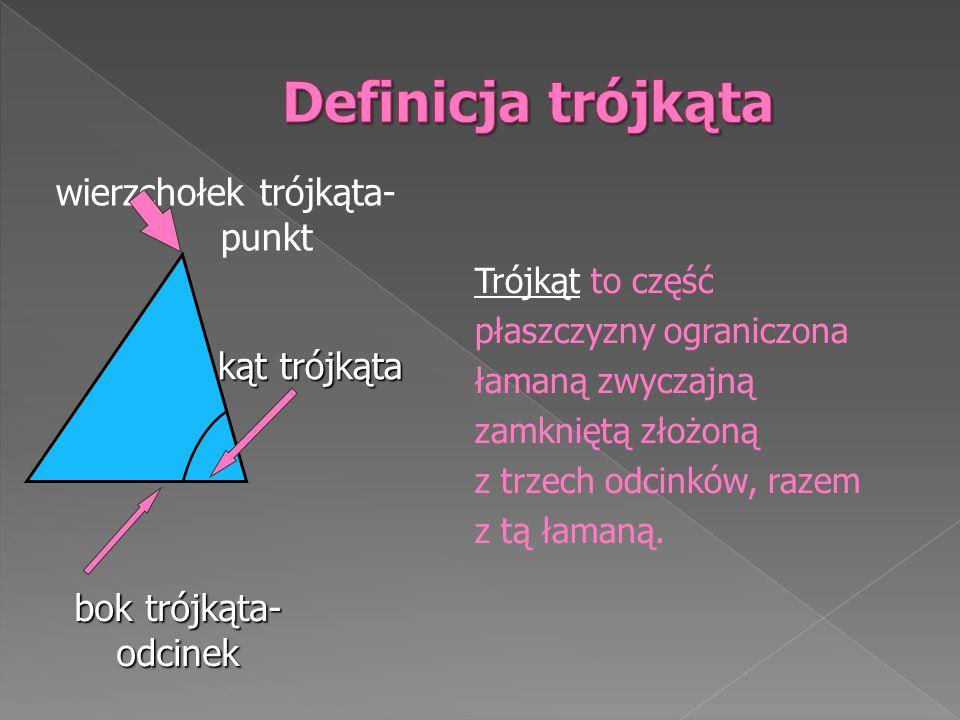 wierzchołek trójkąta- punkt Trójkąt to część płaszczyzny ograniczona łamaną zwyczajną zamkniętą złożoną z trzech odcinków, razem z tą łamaną.