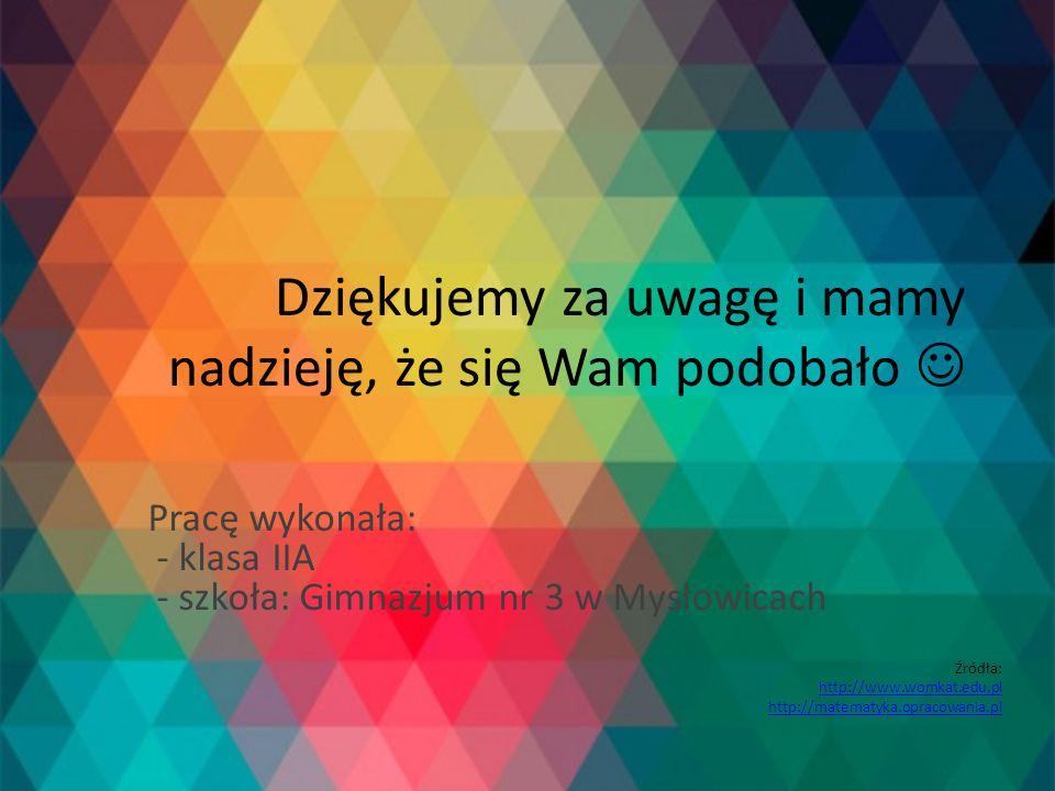 Dziękujemy za uwagę i mamy nadzieję, że się Wam podobało Pracę wykonała: - klasa IIA - szkoła: Gimnazjum nr 3 w Mysłowicach Źródła: http://www.womkat.