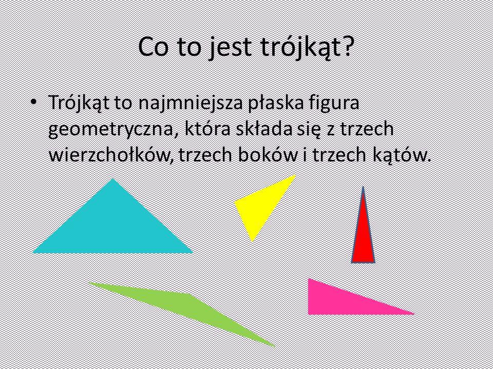 Co to jest trójkąt? Trójkąt to najmniejsza płaska figura geometryczna, która składa się z trzech wierzchołków, trzech boków i trzech kątów.