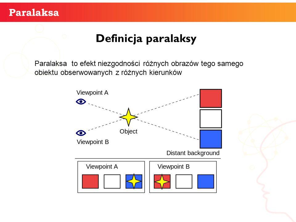 Paralaksa Definicja paralaksy informatyka + 3 Paralaksa to efekt niezgodności różnych obrazów tego samego obiektu obserwowanych z różnych kierunków