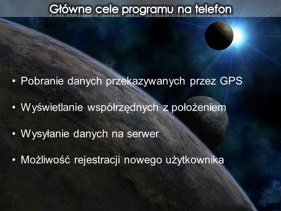 Pobranie danych przekazywanych przez GPS Wyświetlanie współrzędnych z położeniem Wysyłanie danych na serwer Możliwość rejestracji nowego użytkownika