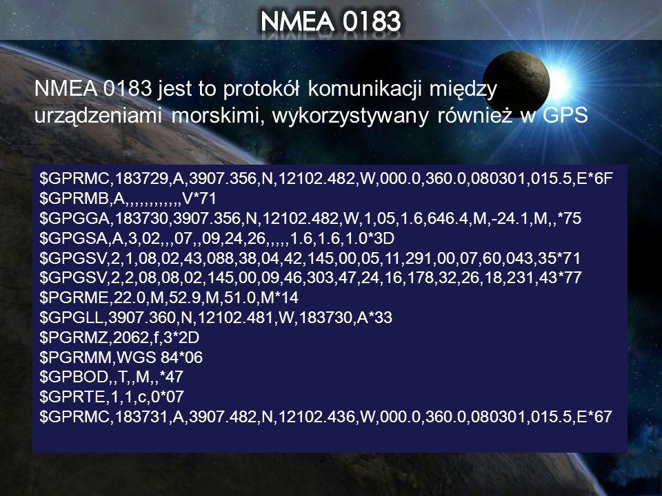 NMEA 0183 jest to protokół komunikacji między urządzeniami morskimi, wykorzystywany również w GPS $GPRMC,183729,A,3907.356,N,12102.482,W,000.0,360.0,0