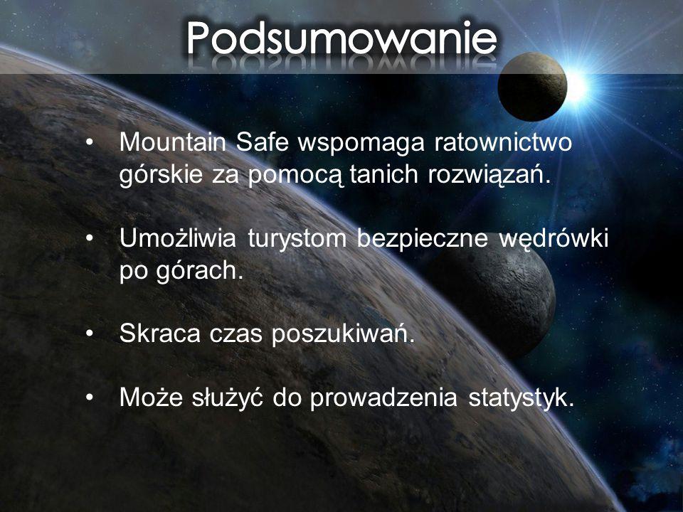 Mountain Safe wspomaga ratownictwo górskie za pomocą tanich rozwiązań. Umożliwia turystom bezpieczne wędrówki po górach. Skraca czas poszukiwań. Może