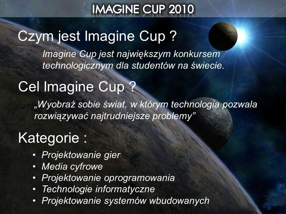 Czym jest Imagine Cup ? Imagine Cup jest największym konkursem technologicznym dla studentów na świecie. Kategorie : Projektowanie gier Media cyfrowe
