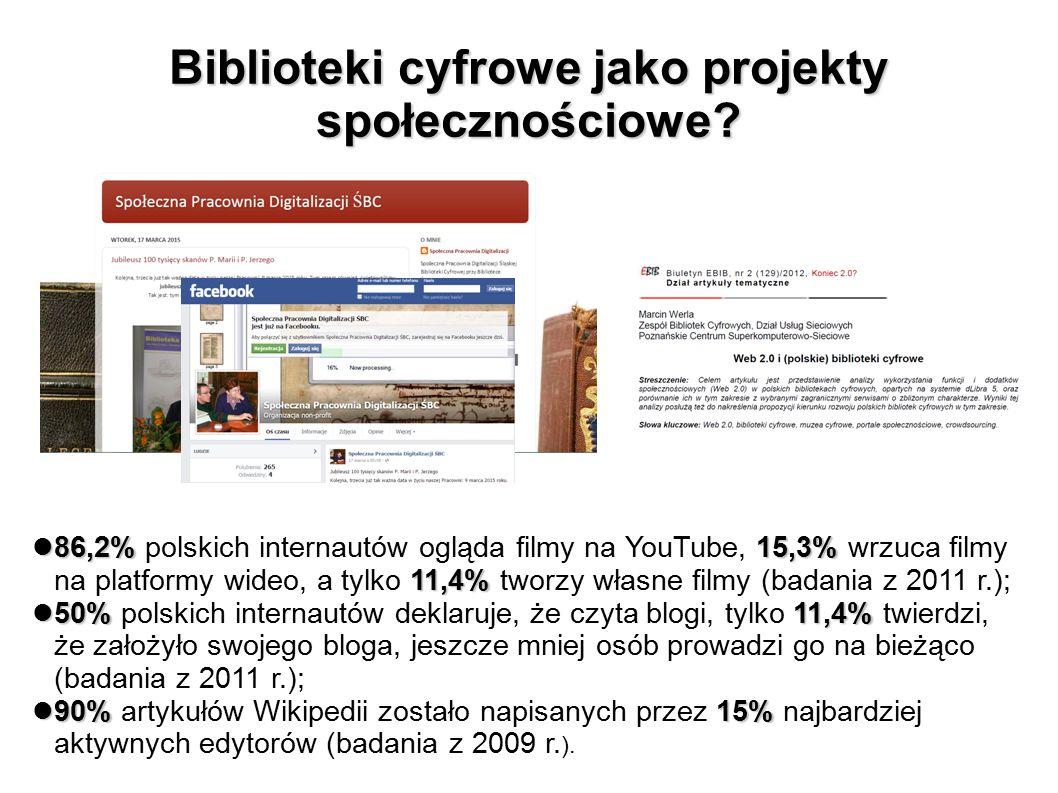 Biblioteki cyfrowe jako projekty społecznościowe? 86,2%15,3% 11,4% 86,2% polskich internautów ogląda filmy na YouTube, 15,3% wrzuca filmy na platformy