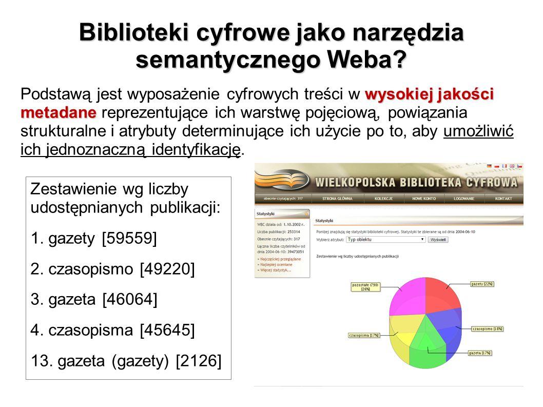 Biblioteki cyfrowe jako narzędzia semantycznego Weba? wysokiej jakości metadane Podstawą jest wyposażenie cyfrowych treści w wysokiej jakości metadane