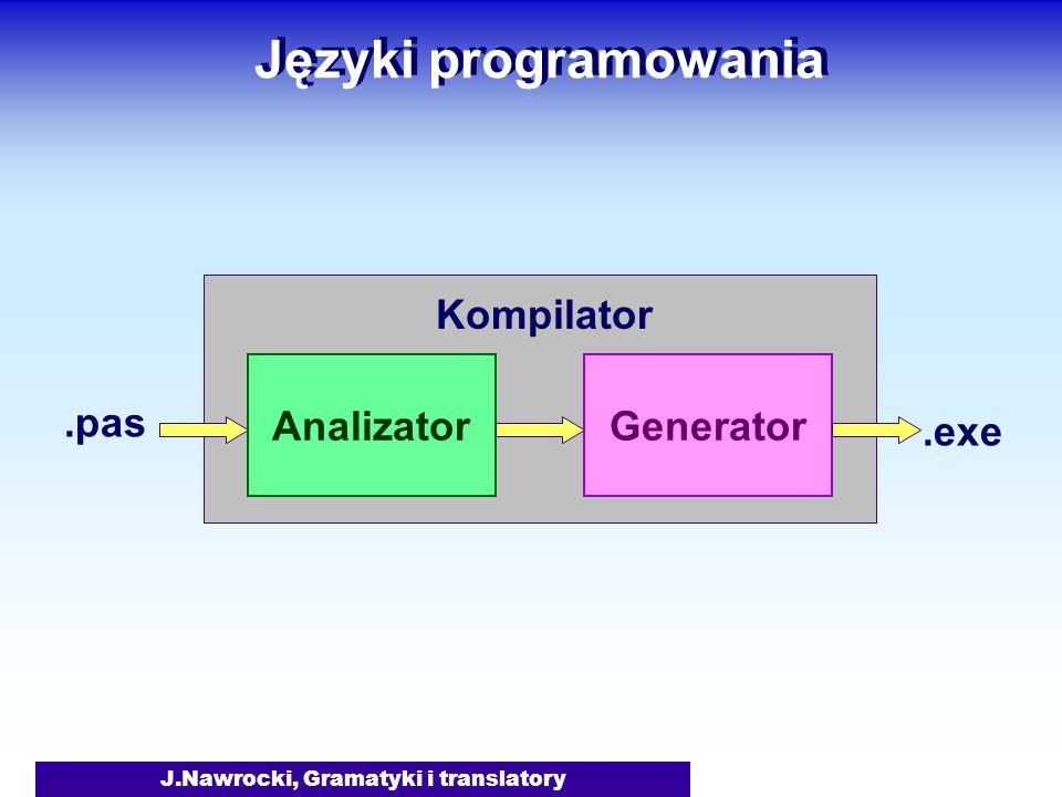 J.Nawrocki, Gramatyki i translatory Języki programowania AnalizatorGenerator.pas.exe Kompilator
