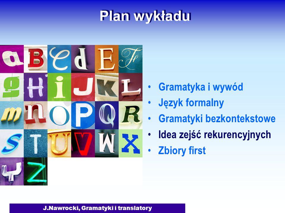 J.Nawrocki, Gramatyki i translatory Plan wykładu Gramatyka i wywód Język formalny Gramatyki bezkontekstowe Idea zejść rekurencyjnych Zbiory first