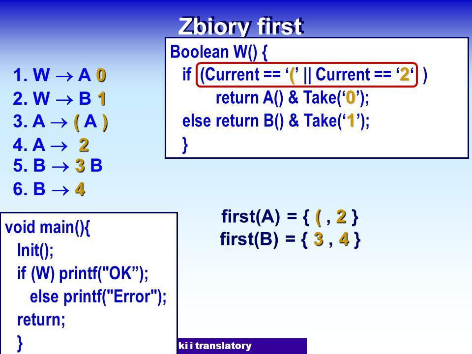 J.Nawrocki, Gramatyki i translatory Zbiory first 0 1. W  A 0 1 2. W  B 1 () 3. A  ( A ) 3 5. B  3 B 2 4. A  2 4 6. B  4 (2 first(A) = { (, 2 } 3