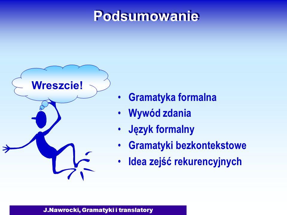 J.Nawrocki, Gramatyki i translatory Podsumowanie Gramatyka formalna Wywód zdania Język formalny Gramatyki bezkontekstowe Idea zejść rekurencyjnych Wre