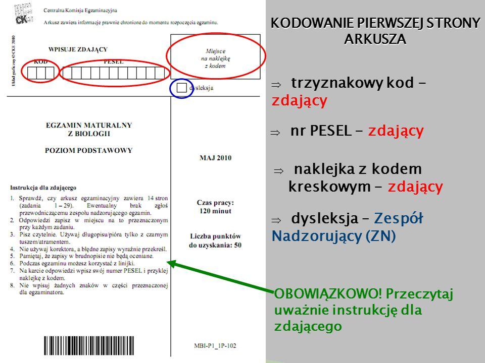 KODOWANIE PIERWSZEJ STRONY ARKUSZA  trzyznakowy kod - zdający  nr PESEL - zdający  naklejka z kodem kreskowym - zdający  dysleksja – Zespół Nadzorujący (ZN) OBOWIĄZKOWO.