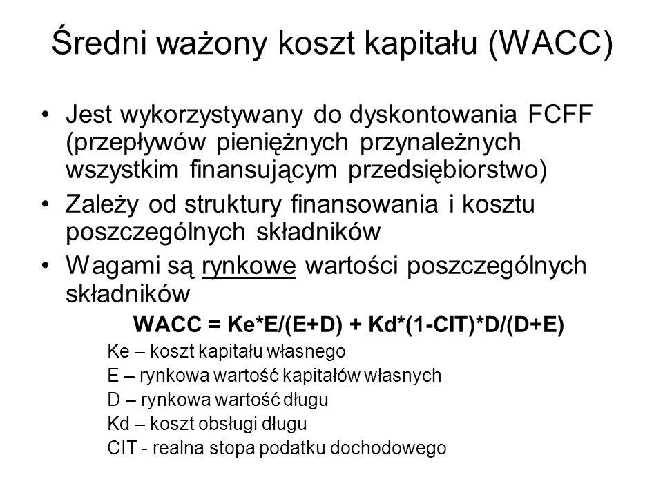 Średni ważony koszt kapitału (WACC) Jest wykorzystywany do dyskontowania FCFF (przepływów pieniężnych przynależnych wszystkim finansującym przedsiębio