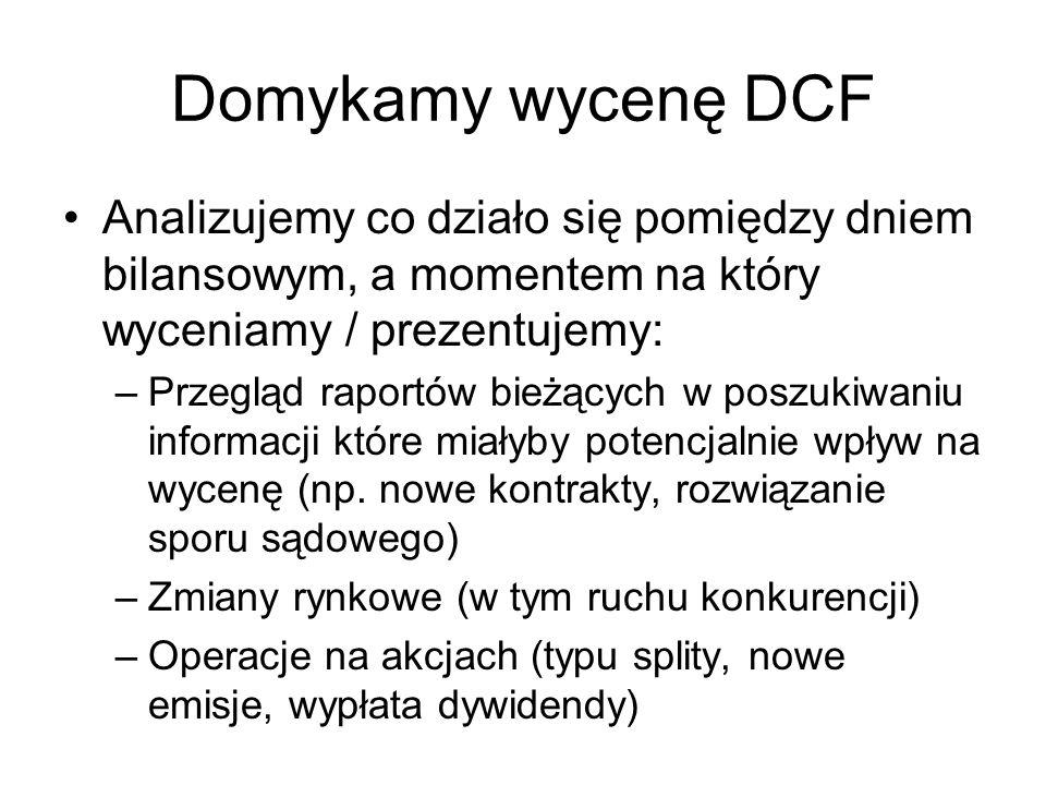 Domykamy wycenę DCF Analizujemy co działo się pomiędzy dniem bilansowym, a momentem na który wyceniamy / prezentujemy: –Przegląd raportów bieżących w