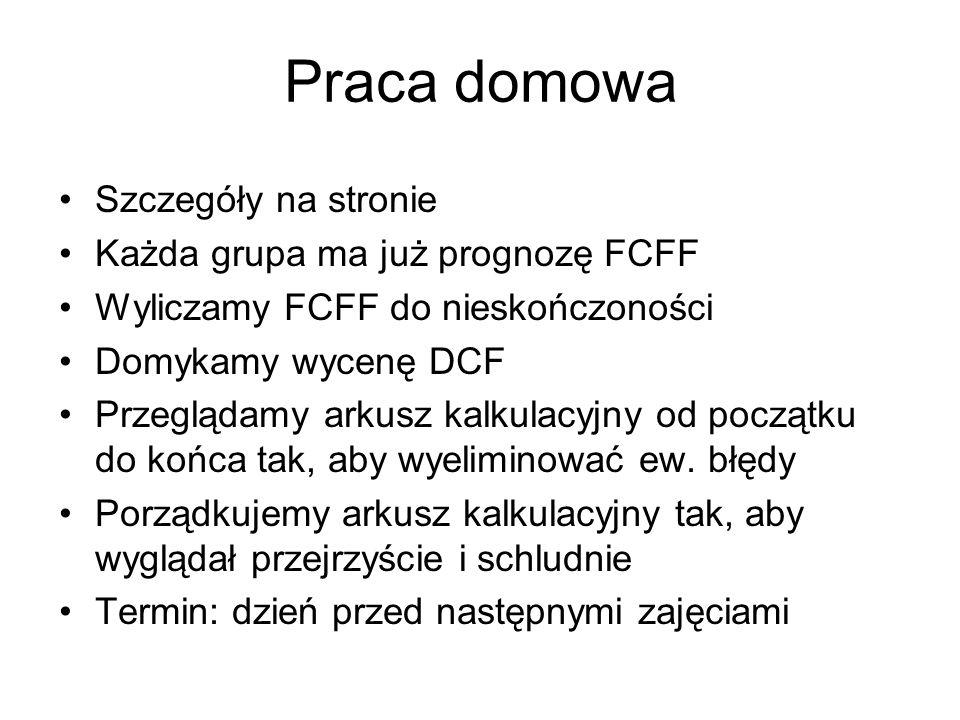 Praca domowa Szczegóły na stronie Każda grupa ma już prognozę FCFF Wyliczamy FCFF do nieskończoności Domykamy wycenę DCF Przeglądamy arkusz kalkulacyj