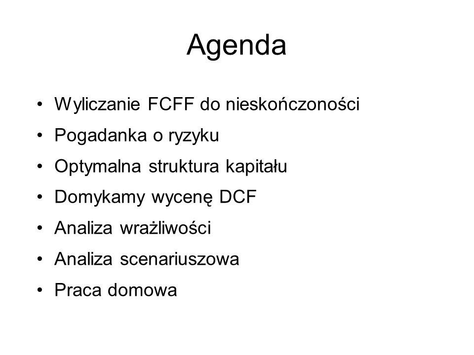 Agenda Wyliczanie FCFF do nieskończoności Pogadanka o ryzyku Optymalna struktura kapitału Domykamy wycenę DCF Analiza wrażliwości Analiza scenariuszow