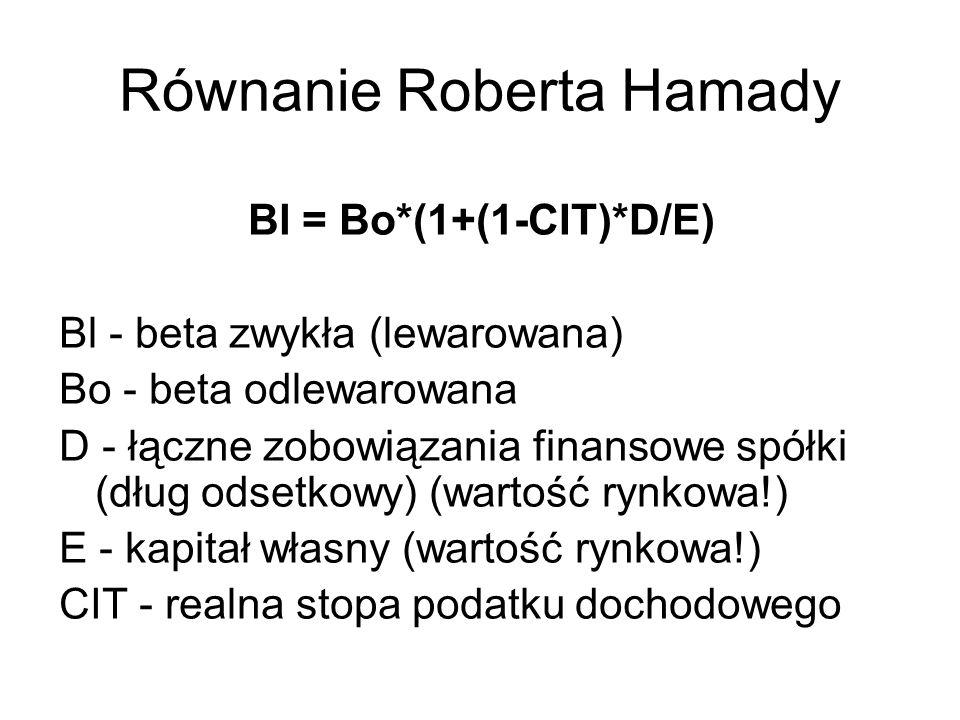 Równanie Roberta Hamady Bl = Bo*(1+(1-CIT)*D/E) Bl - beta zwykła (lewarowana) Bo - beta odlewarowana D - łączne zobowiązania finansowe spółki (dług od