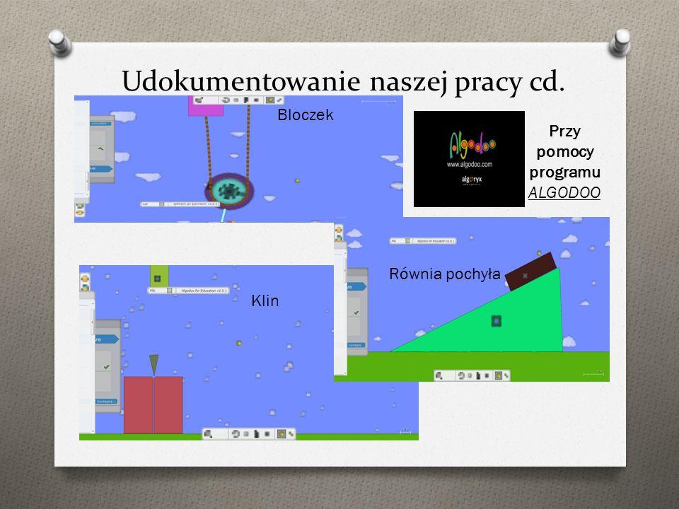 Udokumentowanie naszej pracy cd. Trzy rodzaje dźwigni Katapulta Co poleci dalej?