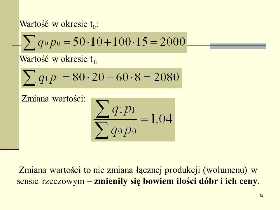 12 Wartość w okresie t 0 : Wartość w okresie t 1: Zmiana wartości: Zmiana wartości to nie zmiana łącznej produkcji (wolumenu) w sensie rzeczowym – zmi