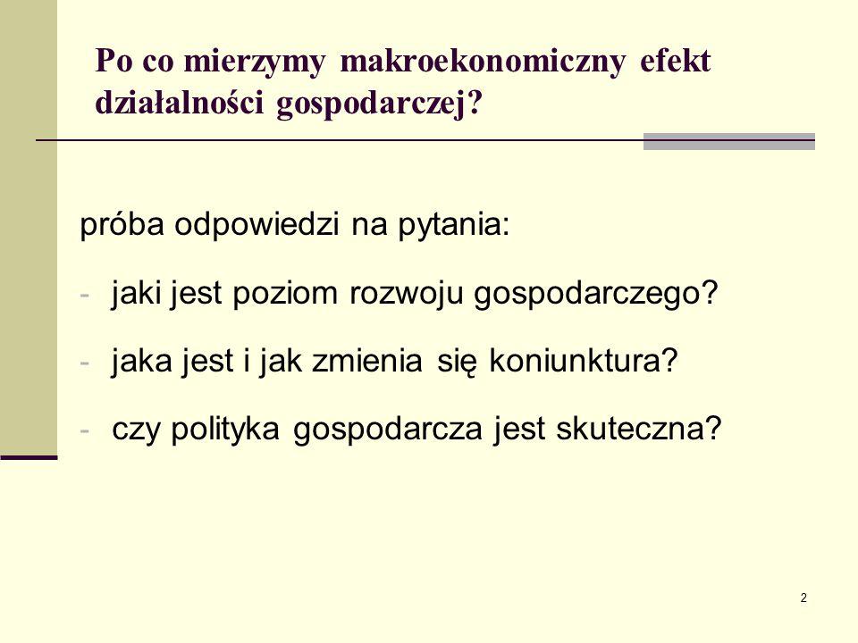 2 Po co mierzymy makroekonomiczny efekt działalności gospodarczej? próba odpowiedzi na pytania: - jaki jest poziom rozwoju gospodarczego? - jaka jest