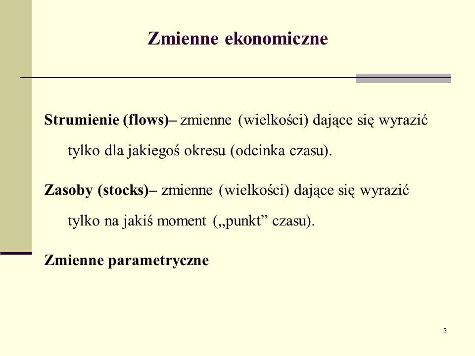 3 Zmienne ekonomiczne Strumienie (flows)– Strumienie (flows)– zmienne (wielkości) dające się wyrazić tylko dla jakiegoś okresu (odcinka czasu). Zasoby
