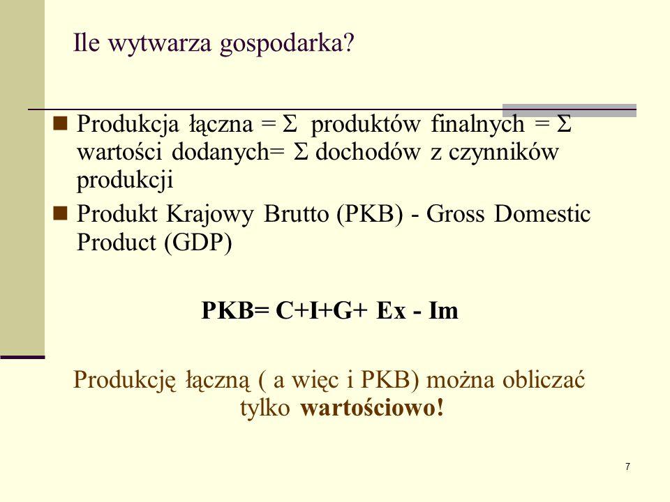 7 Ile wytwarza gospodarka? Produkcja łączna =  produktów finalnych =  wartości dodanych=  dochodów z czynników produkcji Produkt Krajowy Brutto (PK