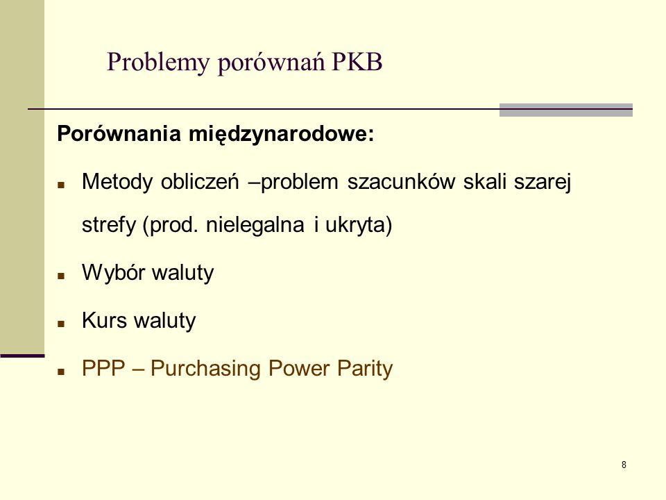 8 Problemy porównań PKB Porównania międzynarodowe: Metody obliczeń –problem szacunków skali szarej strefy (prod. nielegalna i ukryta) Wybór waluty Kur