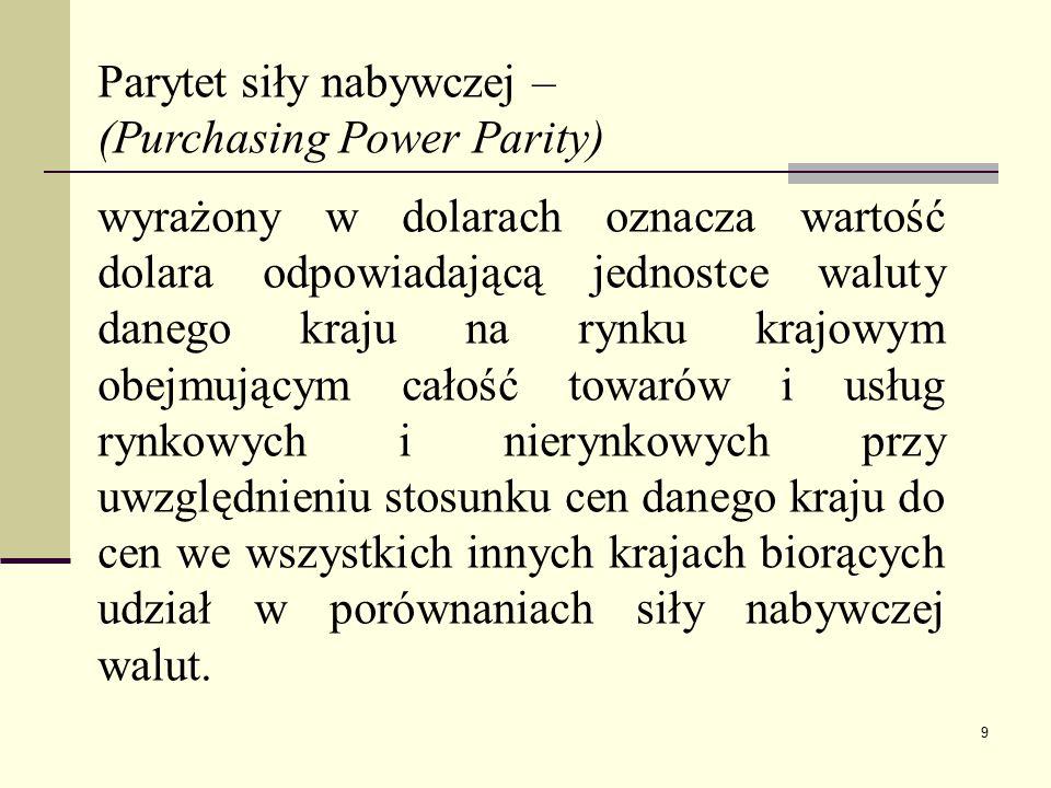 9 Parytet siły nabywczej – (Purchasing Power Parity) wyrażony w dolarach oznacza wartość dolara odpowiadającą jednostce waluty danego kraju na rynku k