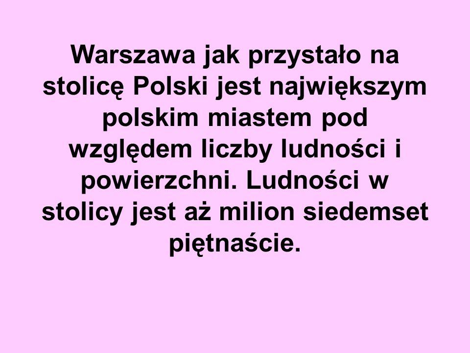 Warszawa jak przystało na stolicę Polski jest największym polskim miastem pod względem liczby ludności i powierzchni. Ludności w stolicy jest aż milio