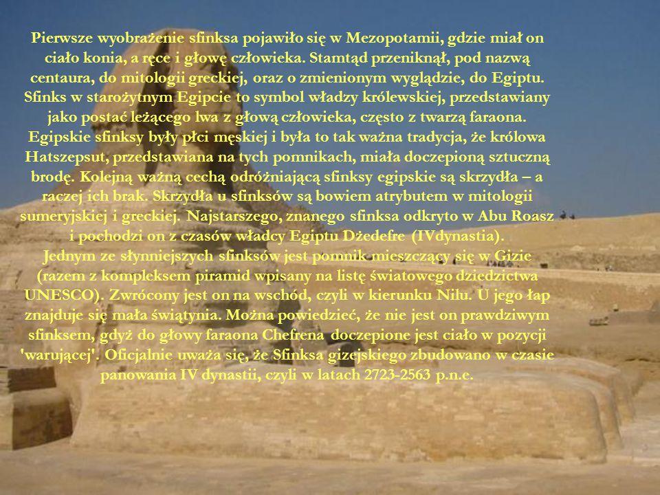 Pierwsze wyobrażenie sfinksa pojawiło się w Mezopotamii, gdzie miał on ciało konia, a ręce i głowę człowieka. Stamtąd przeniknął, pod nazwą centaura,